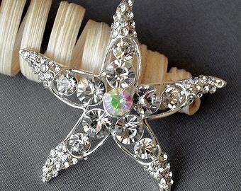 Rhinestone Brooch Crystal Brooch Starfish Bridal Brooch Bouquet Hair Comb Shoe Clip Wedding Cake Decoration Invitation BR347