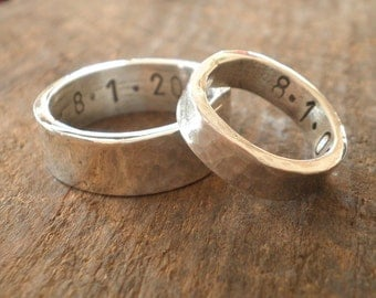 Custom Man's Rustic Thick Chunky Wide Sterling Wedding Band