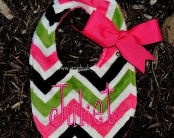 Chevron Minky Baby Bib- Lime, Hot Pink, Black Chevron-Hot Pink Minky-Personalized-Baby Girl