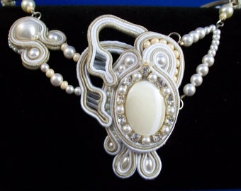 Beige and White Soutache Bridal Necklace