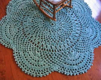 Rag Rug Eight Foot Oval Hand Crocheted By Raggedyanns On Etsy