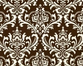 "Fabric shower curtain, Ozborne damask, village brown natural cotton print, 72"", 84"", 90"", 96"", 108"" custom sizes available"