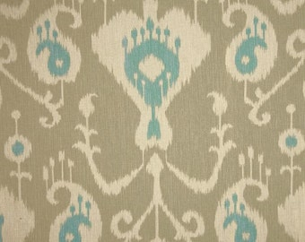 Pair, two 50W curtain panels drapes, Magnolia Home Java ikat DRIFTWOOD