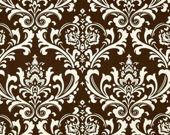 """Fabric shower curtain, Ozborne damask, village brown natural cotton print, 72"""", 84"""", 90"""", 96"""", 108"""" custom sizes available"""