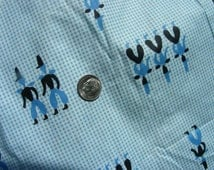 Vintage Cotton Percale Fabric  for Aprons or Quilting - Pretty Blue Tiny Gingham Print with Men in Top Hats - 36 x 50