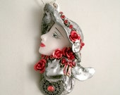 Silver Fashion Lady in Silver hat Crystal Red Rhinestones Resin form Cameo Necklace with Red metal flowers gold enamel bow jewelry