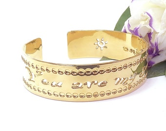 """Gold cuff """"You are my sunshine"""" cuff bracelet, Affirmation jewelry, gold bracelet, dainty gold bracelet, You are my sunshine gold"""