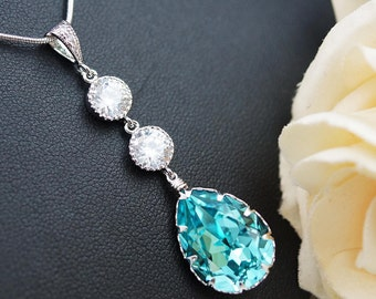 Wedding Bridal Jewelry Bridal Necklace Bridesmaid cubic zirconia connectors and Light Turquoise Swarovski tear drop Necklace Bridesmaid Gift