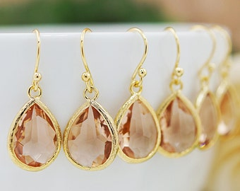 Bridesmaid gifts Bridesmaid Earrings Wedding gift Peach Glass drops dangle earrings Everyday gift for her Christmas gift under 20