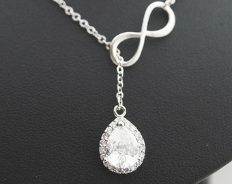 Bridal Necklace Wedding Bridesmaid Necklace Infinity Cubic Zirconia Pendant lariat necklace, infinity necklace, bridesmaid gift (N-B-0010)