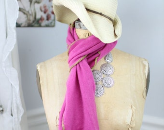 Lush, hand-crocheted scarves made from repurposed cashmere sweaters (in hot pink)