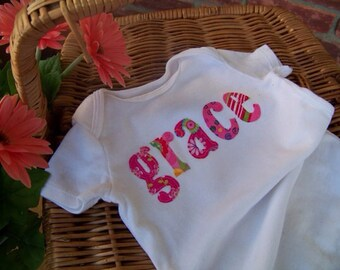 Name Onesie or Tshirt Boys or Girls Choose Your Color Pink Blue Purple or Color of Your Choice