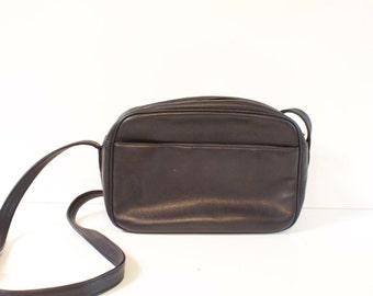 Vintage Blue Leather Crossbody Purse Handbag by Talbot