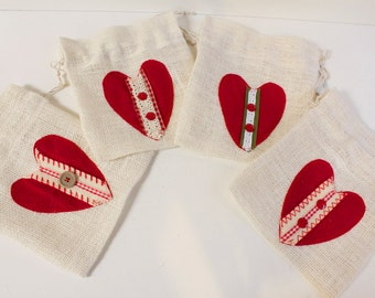 White Burlap Heart Gift bag Valentines Day