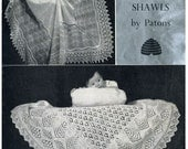 Shetland Lace Shawls PDF pattern from 1950s Patons Two 2 ply knitted shawls Heirloom Downloadable pattern 1085
