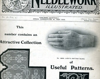 Fancy Needlework Illustrated 1916 Original Booklet Antique Knitting Embroidery Crochet from ENGLAND