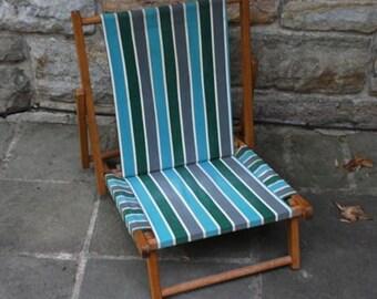 Vintage Wood and Canvas Beach Chair, Camp Chair