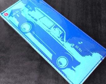 Vintage Volkswagen Vinyl Billfold Wallet - Blue Squareback