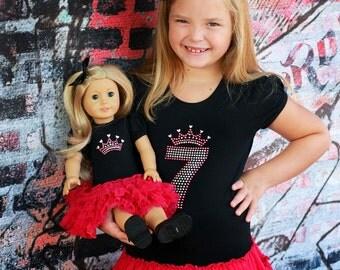 Doll Dress Set, Made to Match Birthday Pettidress Set, Birthday Number Bling Tutu Dress