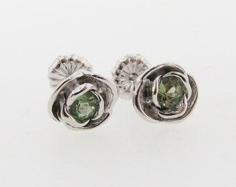Petite Rose Post Earrings, Peridot and Silver