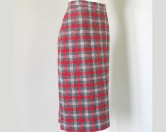 Vintage 1950s Wiggle Skirt by Addis Red and Gray Plaid Wool XS S