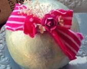 Baby Girl Headband, Baby Bows, Headband, Vintage Inspired, Hot Pink White Retro Inspired