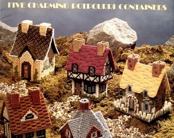 Cozy Cottages Plastic Canvas 5 Containers Half Timbered Elizabethan Thatched Needlepoint Embroidery Craft Pattern Leaflet 1190 Leisure Arts