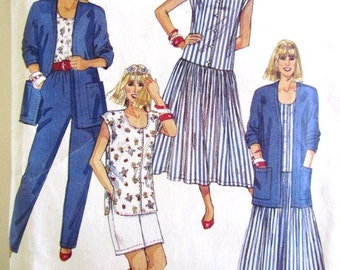 McCalls 4697 Misses Cardigan Dress Top Pants & Shorts Pattern Sz 22 Uncut