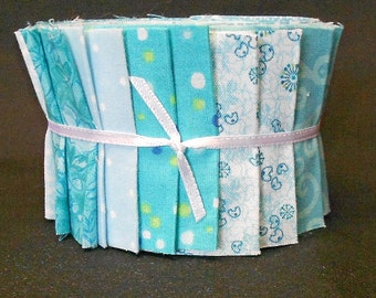 Quilt Jelly Roll Aqua Fabric Strips Turquoise   by SEW FUN QUILTS