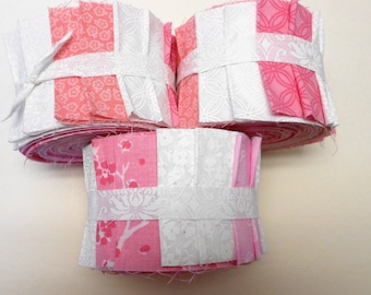 Quilt Jelly Roll Strips Pink and White Cotton Quilt Fabric by Sew Fun Quilts