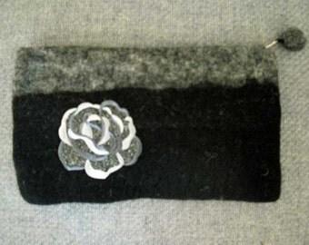 Black and Grey Felted Wool Clutch Bag  Glitter Rose Embellished
