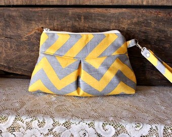 Chevron pleated wristlet pouch clutch Small in Yellow/Grey canvas- READY-