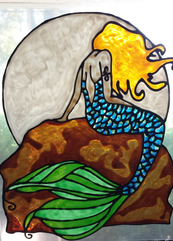 Mermaid With Moon On Rock Stained Glass Window Cling