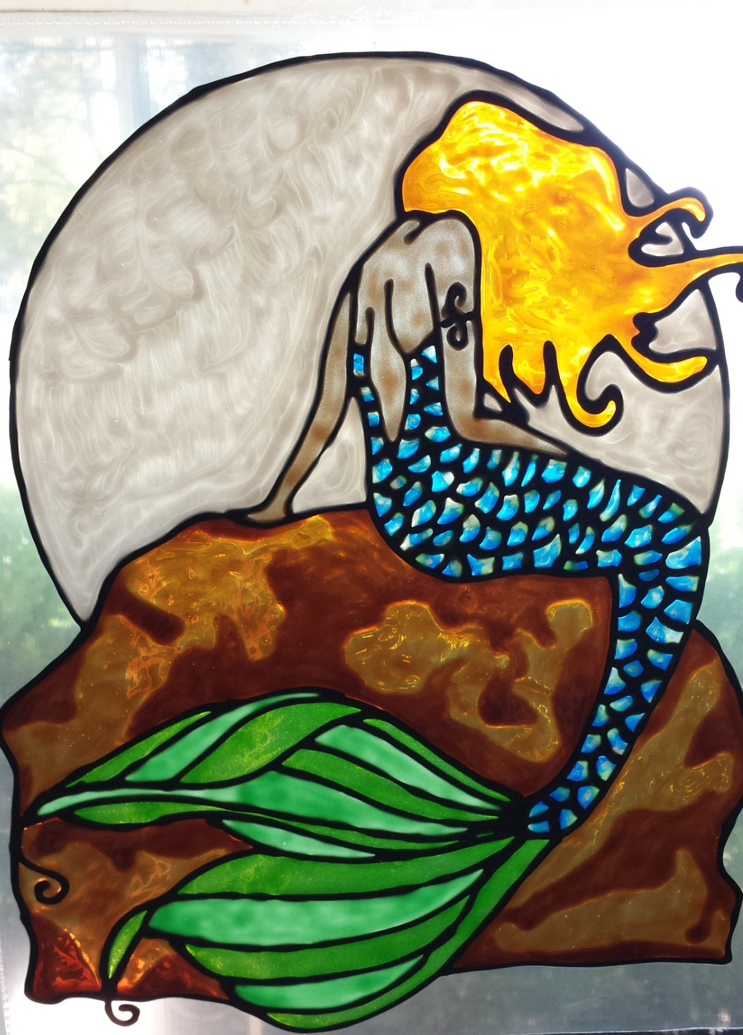 mermaid with moon on rock stained glass window cling. Black Bedroom Furniture Sets. Home Design Ideas