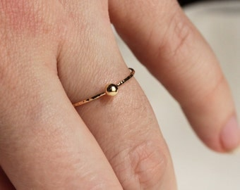 Solid 14k Gold Mirror-Ball Ring in 14k Rose or Green or Yellow or White Gold - Hammered Dot Stack Ring - Bead Ball Stack Ring