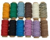 12 Spools Hemp Cord,  Colored Hemp Twine, Hemp Jewelry Cord, Scrapbooking Supplies, Twine, Mini Spools -HC113