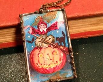 Vintage Halloween postcard pendant reversible necklace witch with Jack O' Lantern, black cat, bat