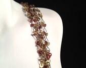 Vintage, Brassy, 5 Chain Necklace : N87
