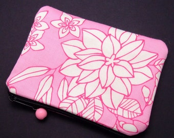 White flowers on pink - Zipper pouch / coin purse (padded) (ZS-76)