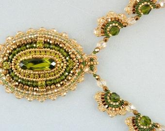 Olive Gold Swarovski Vintage Imitation Set, Bead Embroidery Pendant, Beadweaving Necklace,Gold Earrings, OOAK