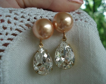 Vintage Whisper Pink Pearl and Faceted Glass Teardrops Gold Earrings