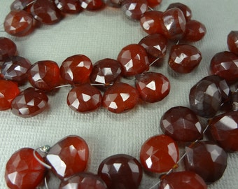 Dark red quartz faceted briolettes, graduated top drilled beads, 10mm to 12.5mm - 740
