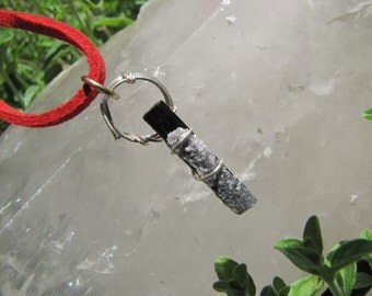 Natural Raw Black Tourmaline Rod Pendant  Protective Stone /Crystal Druzy on Natural Black Tourmaline