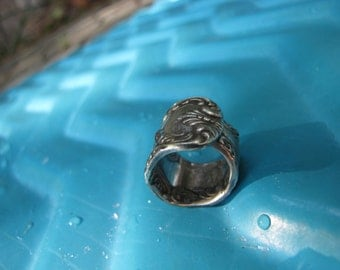 Vintage Silver Plated  Spoon Ring Mini Steampunk / Goth Silver Spoon Ring