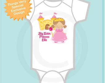Princess Big Sister Onesie | Personalized Big Sister Shirt or Onesie | Big Sister Shirt for Toddlers and Kids  | 04022013a5