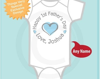 New Dad Gift, Happy 1st Father's Day Onesie,  Personalized First Fathers Day Onesie or Tee shirt with Blue Heart (04072014c)
