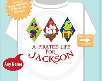 Boy's Pirate Shirt, Personalized Pirate Shirt, A Pirate's Life Shirt or Onesie with Your Child's Name (01072011a)