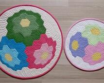 Table Topper Pattern-Hexagon Flower Quilt Pattern-Round Quilt Pattern-Small Quilt Pattern-English Paper Piecing Pattern-3D quilt design