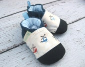 SALE Classic Vegan Chopper with Blue / Non-Slip Soft Sole Baby Shoes / Made to Order / Babies Toddler Preschool