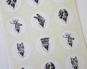 Animal Stickers One Inch Round Seals
